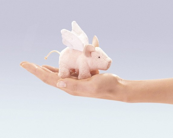 Folkmanis Flying Pig Finger Puppet