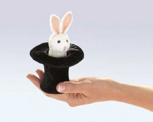 Folkmanis Rabbit in Hat Finger Puppet